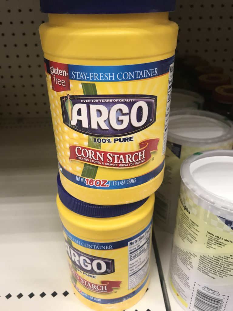 Corn starch in plastic containers