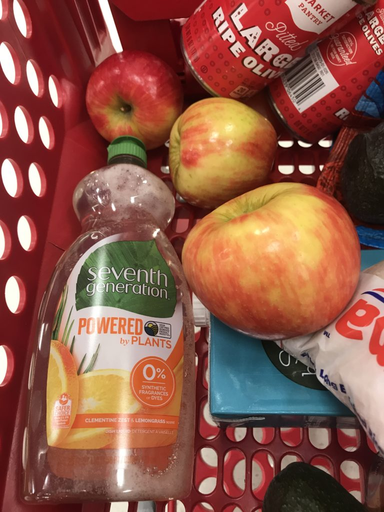 Seventh Generation dish soap in shopping basket